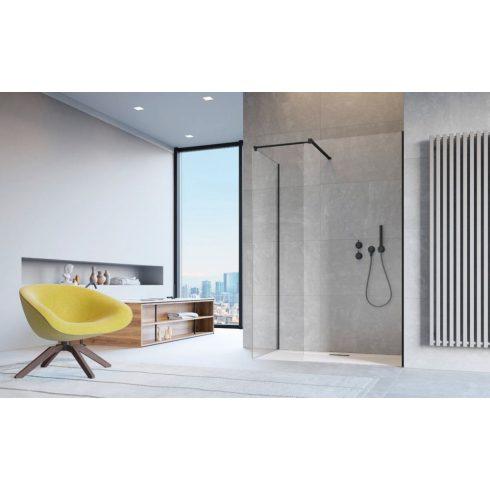 Radaway Modo New Black III Walk-in fekete zuhanyfal + összekötő adapter
