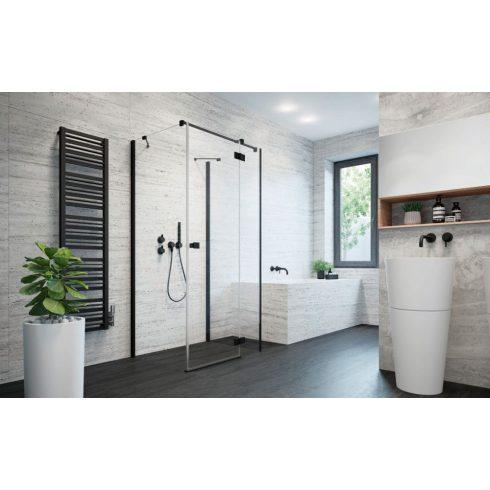 Radaway Essenza New Black KDJ+S szögletes fekete zuhanykabin / Nyílóajtó + oldalfal